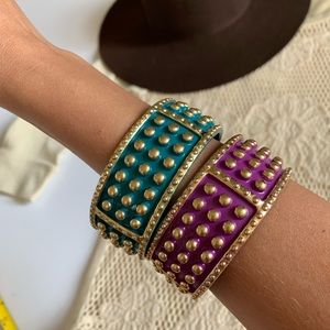 Set of 2 Bangles Aqua, Magenta & Gold Bracelets